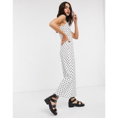 ベルシュカ レディース ワンピース トップス Bershka ruched front strappy jumpsuit in white polka dot