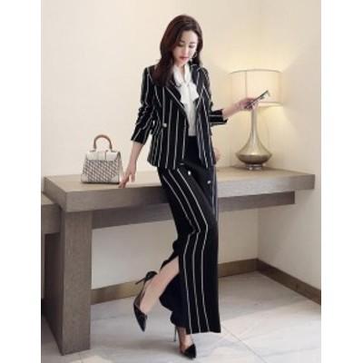 ストライプ パンツスーツ 女性 ガウチョパンツ ワイドパンツ スーツパンツ ジャケット 大きいサイズ セットアップ 上下セット オフィス