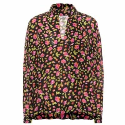 バレンシアガ Balenciaga レディース ブラウス・シャツ トップス Floral silk blouse Black/Pink