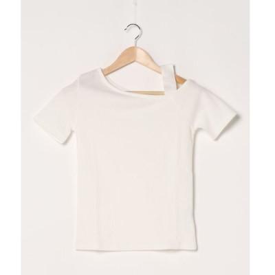tシャツ Tシャツ ワンショルダー半袖テレコTOPS
