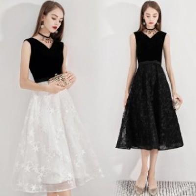 黒 白 2色 星柄 Vネックノースリーブ 細身 着痩せ ロング丈 パーティードレス 上品 キレイめ Aライン イブニングドレス 20代 30代 40代