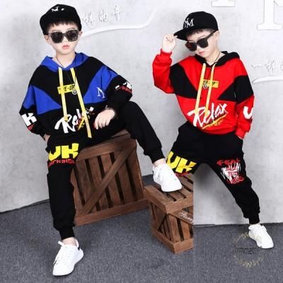 韓国子供服 2点セット ジャージ スウェット 男の子 春秋 キッズ セットアップ ジュニア服キッズ ダンス 衣装 ヒップホップ セットアップ