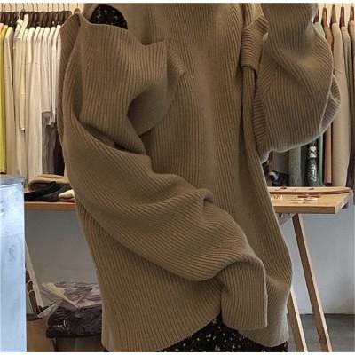 【待望の再入荷です‼】2019 秋冬 新品 韓国ファッション 長袖 タートルネック ゆったりする 個性 オフショルダー セーター