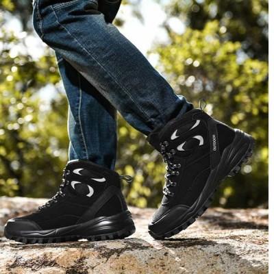 スノーシューズ メンズ 革 ボア付き 厚底 防滑 防寒ブーツ スワークブーツ メンズブーツ スノーブーツ トレッキングシューズ 防水 防寒 バイク ブーツ 裏ボア