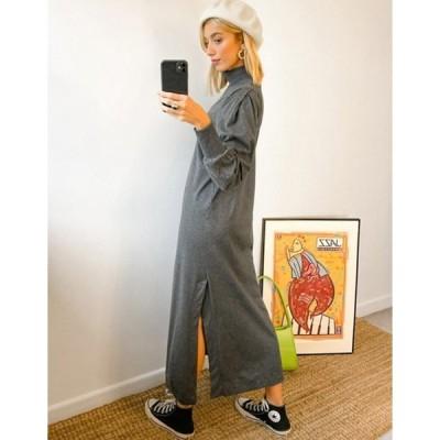 セレクティッド レディース ワンピース トップス Selected Femme high neck jersey maxi dress in gray
