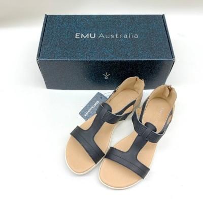 エミュー オーストラリア サンダル 靴 cassia W11168 未使用 美品 タグ付き 箱あり レディース 24cm ブラック EMU Australia 服飾 EF0346★