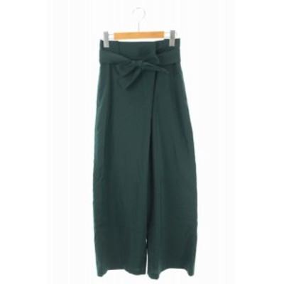【中古】ミラオーウェン Mila Owen ワイドパンツ ベルト付き 1 緑 /YS ■OS レディース