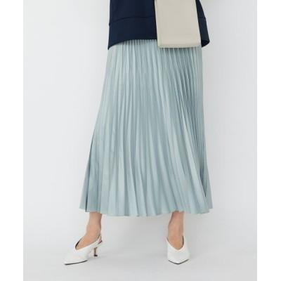 L size ONWARD(大きいサイズ)/エルサイズオンワード 【マガジン掲載】Gloss Satin スカート(番号CE24) アイスブルー系 40
