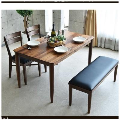 幅1350ダイニング4点セット ウォールナット無垢材 ウレタン樹脂塗装  椅子座面PVC   テーブル幕板仕様 天板ハギ材仕様