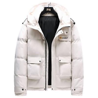 中綿ジャケット メンズ 防寒 コート 中綿 ジャケット 厚手 防風 シンプルデザイン 暖かい アウター ジップアップ 大きいポケット付き 秋冬
