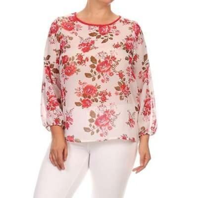アンブランデッド レディース White Floral Chiffon Plus Size Top