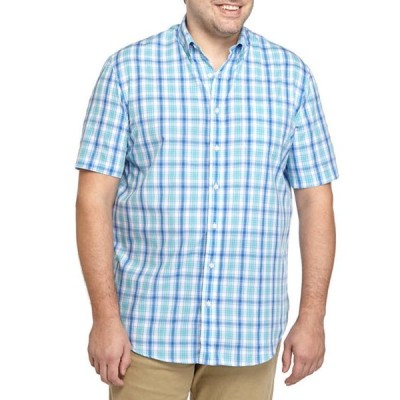サドルブレッド メンズ シャツ トップス Big & Tall Easy Care Short Sleeve Poplin Plaid Woven Shirt