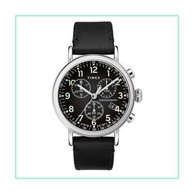 Timex 41 mm Standard Chronograph Leather Strap Silver/Black/Black One Size【並行輸入品】