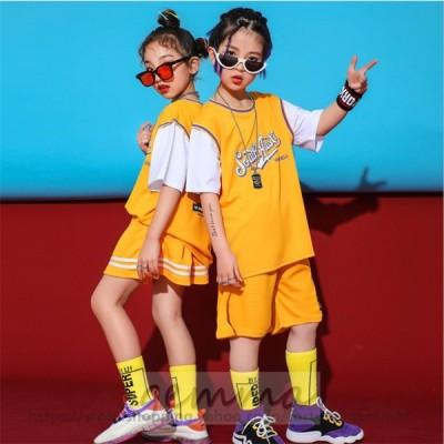 キッズダンス衣装 セットアップ HIPHOP ショートパンツ ヒップホップ 子供服 子供ダンス  スカート スポーツウェア ステージ衣装 団体服 練習着 夏