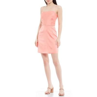 ジアーニビニ レディース ワンピース トップス Eleanor Square Neck Sleeveless Stretch Crepe Mini Dress Papaya