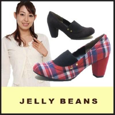 ジェリービーンズ JELLY BEANS ラウンドトゥ パンプス PUMPS(6084)スエード チェック柄 ジレ 太ヒール 黒