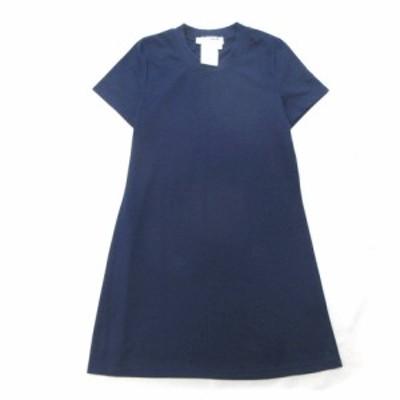 【中古】美品 シャルルアナスタス CHARLES ANASTASE チュニック Tシャツ カットソー 半袖 丸首 S ネイビー