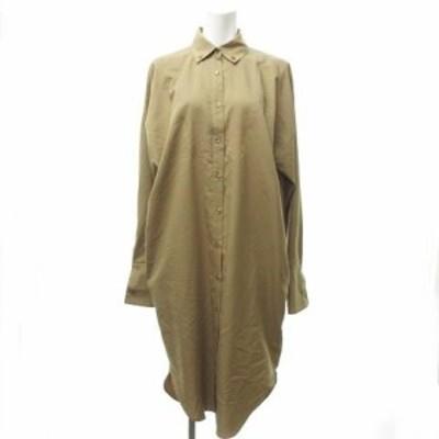 【中古】ケイシラハタ kei shirahata 美品 BDシャツ ワンピース ドレス ロング バックデザイン ゆったり ベージュ F