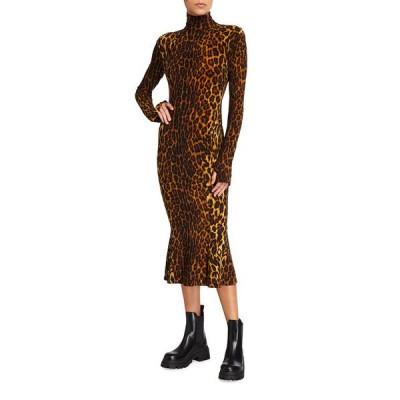 ノーマカマリ レディース ワンピース トップス Leopard-Print Turtleneck Midi Fishtail Dress