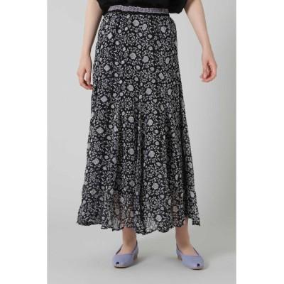 【ローズバッド】 オリエンタルフラワープリントスカート レディース ブラック - ROSE BUD