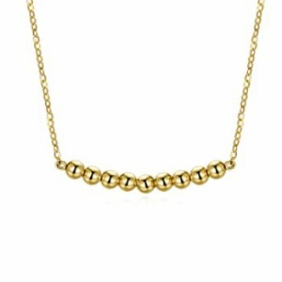 14K Solid Gold Necklace Valentine's Day Jewelry Gfit for Women, Real Yellow Gold Beaded Ball Choker Pendant Necklace Jewelry Gif