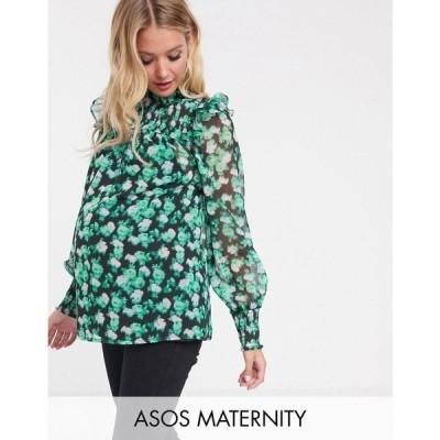 エイソス ASOS Maternity レディース トップス マタニティウェア ASOS DESIGN Maternity high neck with shirred detail in blurred floral print マルチカラー