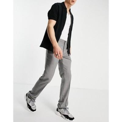 フレンチコネクション メンズ カジュアルパンツ ボトムス French Connection slim fit prince of wales plaid pants Grey