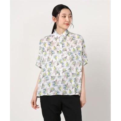 シャツ ブラウス 【sandy】プリントレギュラーカラー切り替えシャツ