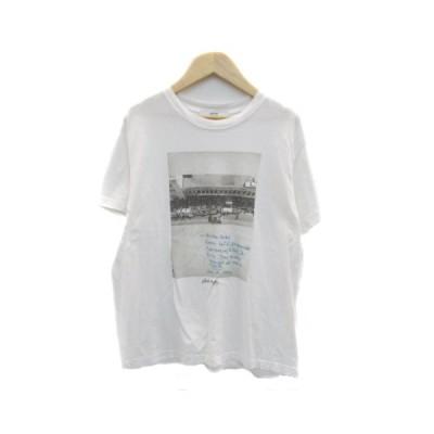 【中古】ジャーナルスタンダード レリューム Tシャツ カットソー ラウンドネック 半袖 プリント F 白 ホワイト グレー レディース 【ベクトル 古着】