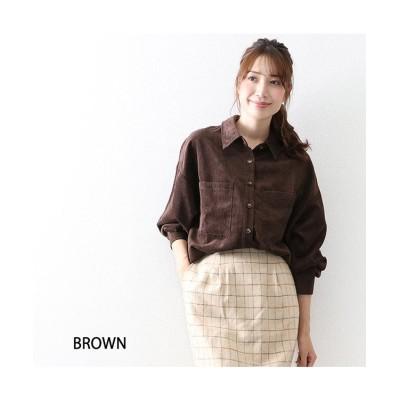 【オウンコード】 コーデュロイBIGシルエットスキッパーシャツ レディース ブラウン L OWNCODE