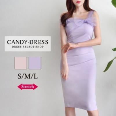 【予約】S/M/L 送料無料 Luxury Dress ストレッチ無地×オーガンジーリボンデザインワンショルダータイトミディドレス SN20070 韓国 ドレ