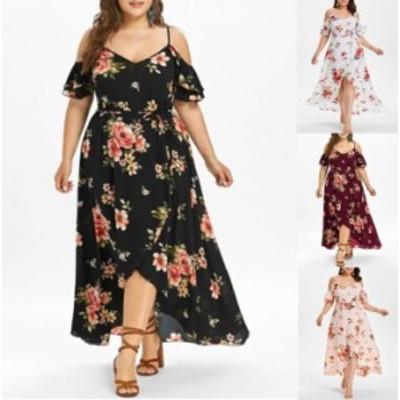 【 L - 5XL 】 大きいサイズ ビッグサイズ セクシー ドレス 花柄 プリント 半袖 4XL 3XL 2XL 70596