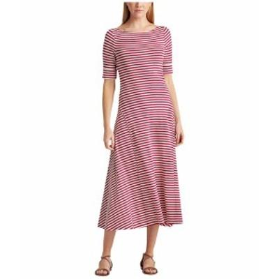 ラルフローレン レディース ワンピース トップス Striped Stretch Cotton Maxi Dress Bright Fuchsia/Mas Cream