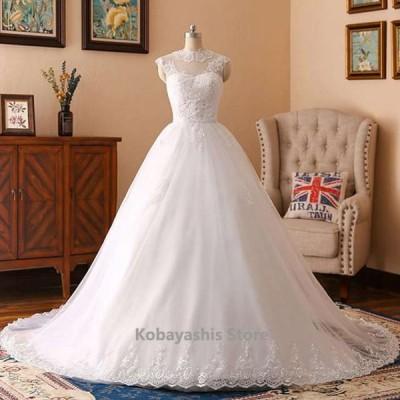 ウエディングドレスホワイトノースリーブトレーンドレス花嫁結婚式ドレス背開きAラインプリンセスドレス披露宴挙式シンプルエレガント