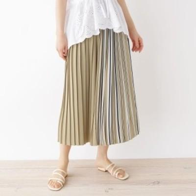 サンカンシオン(レディス)(3can4on Ladies)/【手洗いOK】ストライプミックスプリーツスカート
