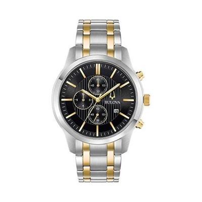 腕時計 ブローバ メンズ 98B310 Bulova Men's Two-Tone Chronograph Watch, Black Dial