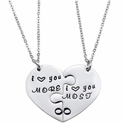 Couple Necklace Gifts - Valentine's Day Gifts for Couple Boyfriend and Girlfriend, I Love You More Most Matching Heart Pendant N