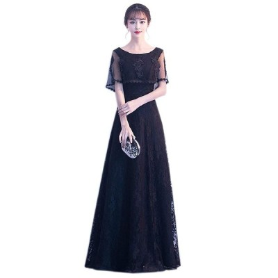 パーティードレス 黒 結婚式 ドレス カラードレス 袖あり 花嫁 ドレス 二次会ドレス カクテルドレス 披露宴 ドレス お呼ばれドレス ミセ