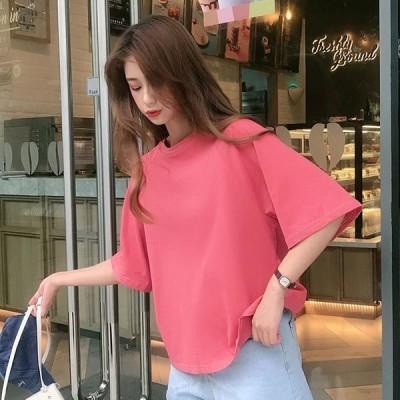 レディース tシャツ バックリボン トップス ビックシルエット 無地 半袖 春 夏 ゆったり  送料無料