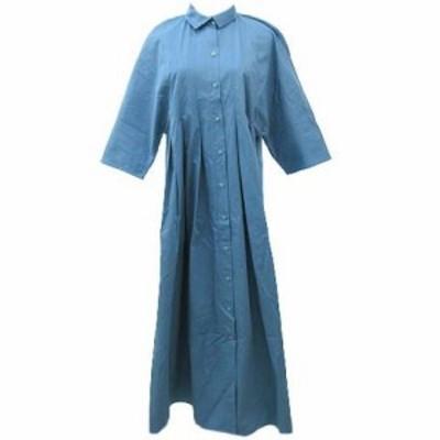 【中古】ザラ ZARA シャツ ブラウス ワンピース 七分袖 ロング タック プリーツ M ライトブルー Y1907 レディース