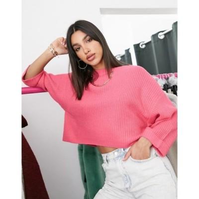 アックスパリ レディース ニット・セーター アウター AX Paris cropped boxy sweater in fuschia