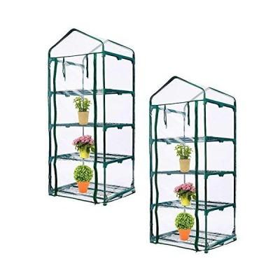 (新品) SHANGXING 4 Tier Roll-Up Zipper Door Greenhouse Replacement Cover-Clear PVC Plant Greenhouse Cover for Gardening Plants Cold Fr