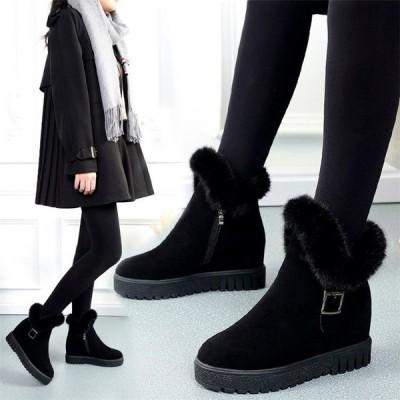 ショートブーツ レディース ムートンブーツ インヒールブーツ  裏起毛  シューズ  靴 ファーシューズ 美脚 歩きやすい 冬 ファー付き  裏ボア 厚底 フラット