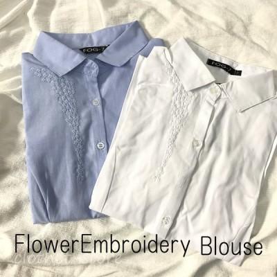 細身刺繍ブラウス スリムシャツ 半袖トップス オフィス キレイ目 折り返し袖 レディース