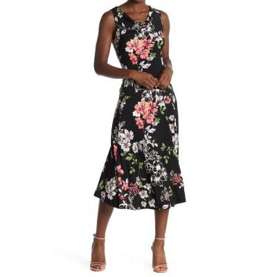 ロビービー レディース ワンピース トップス Floral Sleeveless Midi Dress BLACK