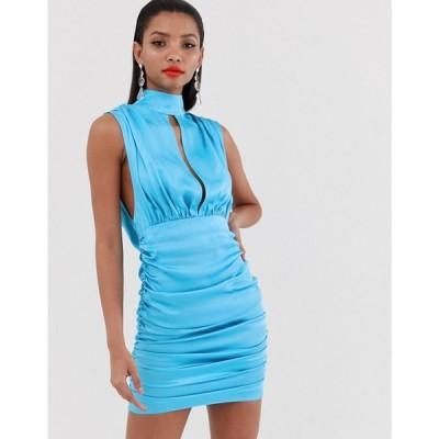 エイソス ASOS DESIGN レディース ワンピース ワンピース・ドレス high neck cowl back mini dress in satin Electric blue