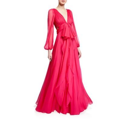 アレキサンダー・マックイーン レディース ワンピース トップス Deep-V Bowed Silk Chiffon Gown