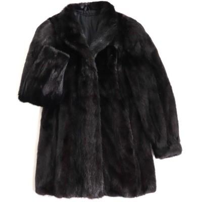 極美品▼SAGA MINK サガミンク 本毛皮コート ブラック 毛質艶やか・柔らか◎