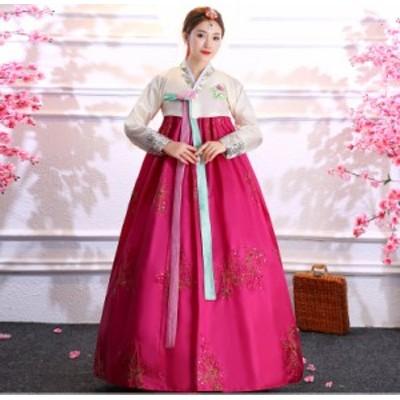 コスプレ チマチョゴリ 民族衣装 韓国風 ラメ スパンコールの装飾 上下2点セット (ローズ)