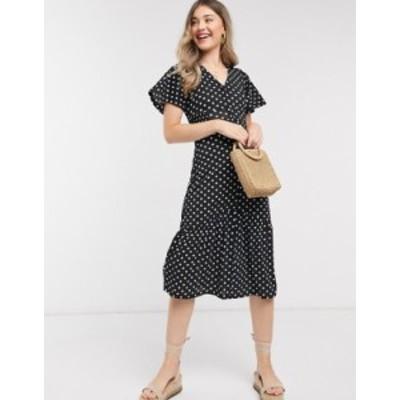 リバーアイランド レディース ワンピース トップス River Island polka dot tiered midi dress in black Black spot